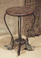 South Seas Side Table, 100% NATURAL Inlaid Coconut Seashell (w/Bull Nose Round Top & Flared Leaf Legs)