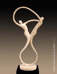 Swing Sculpture - Table Model, Beige Fossil Stone with White Ivory Stone