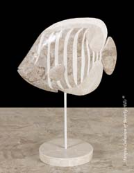 Nemo Tropical Fish Sculpture, Cantor Stone/Beige Fossil Stone/White Ivory Stone/Chamber Nautilus
