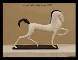 Dynasty Stallion Sculpture, Crystal Stone with Black Stone