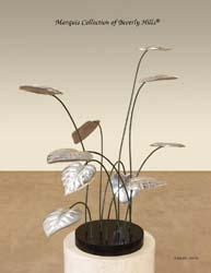 Lily Pads Sculpture, 100% NATURAL Inlaid Black Stone base with Leaves in Stainless Steel finish