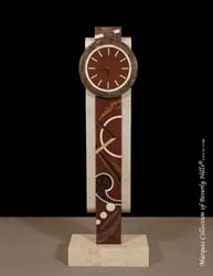 Et cetera Floor Clock, Beige Fossil Stone with Natural Materials