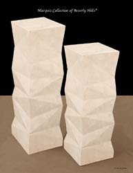 42'' High Chiseled Pedestal, 100% NATURAL Inlaid White Ivory Stone