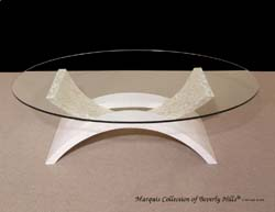 Mystique' Contemporary Cocktail Table, White Ivory Stone with Trocca Seashell Trim and Oval Glass Top