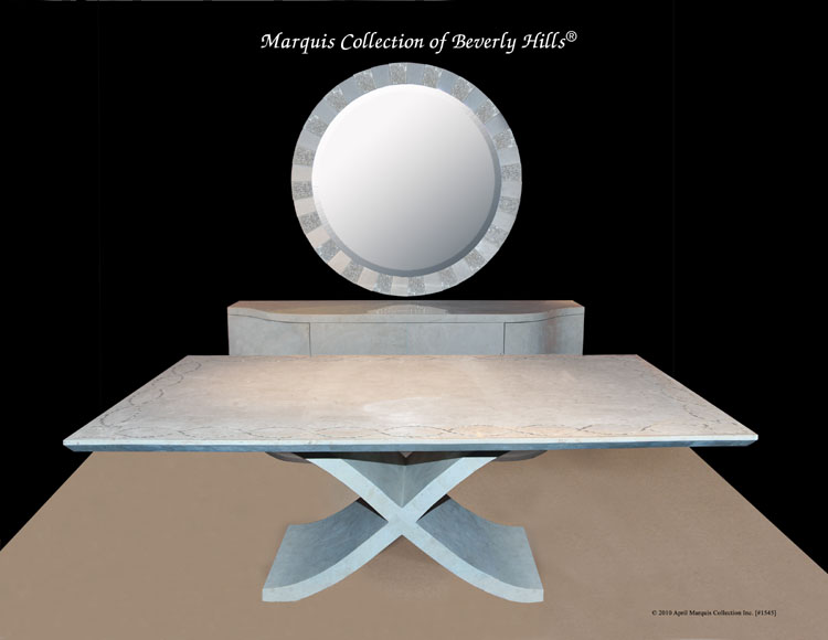 X' Dining Table, White Ivory Stone with Trocca Seashell