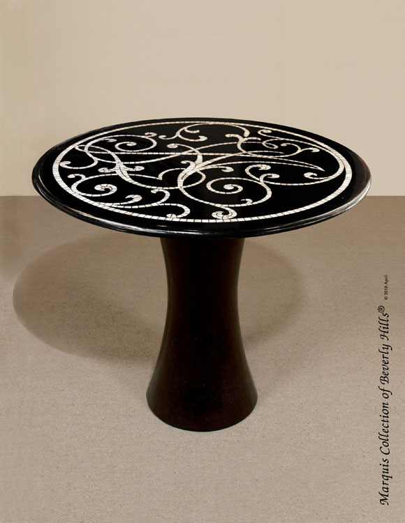 Rocco Round Occasional Table, Black Pen Seashell/MOP/Black Stone Finish