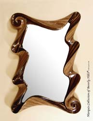 Wave Rectangular Mirror Frame, Dark Banana Bark/Honeycomb Cane Leaf