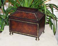 Rectangular Antique GENUINE LEATHER with real GOLD Leaf Embossing Box with Bun feet