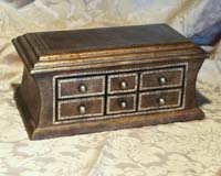 Rectangular R-4 Dark Brown Crackle Antique Reproduction Box with 6 drawers